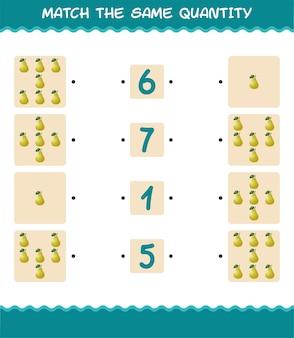 Combine a mesma quantidade de pêra. jogo de contagem. jogo educativo para crianças e bebês antes da idade escolar