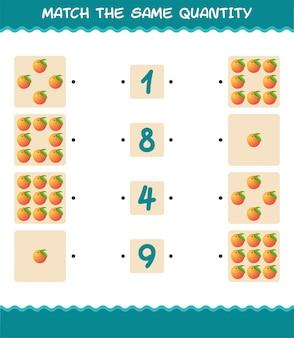 Combine a mesma quantidade de pêssego. jogo de contagem. jogo educativo para crianças e bebês antes da idade escolar