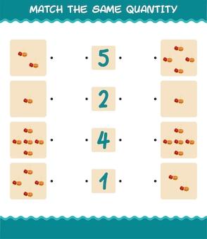 Combine a mesma quantidade de pitanga. jogo de contagem. jogo educativo para crianças e bebês antes da idade escolar