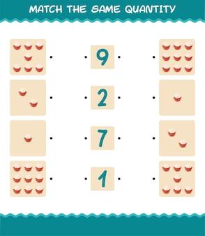 Combine a mesma quantidade de rambutan. jogo de contagem. jogo educativo para crianças e bebês antes da idade escolar
