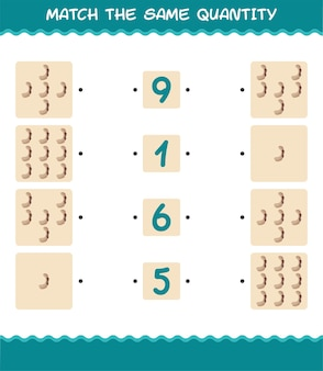 Combine a mesma quantidade de tamarindo. jogo de contagem. jogo educativo para crianças e bebês antes da idade escolar