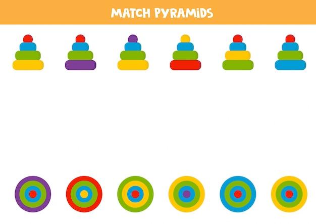 Combine a pirâmide e sua vista de cima.