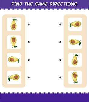 Combine as mesmas direções do abacate. jogo de correspondência. jogo educativo para crianças e bebês antes da idade escolar
