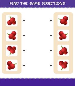 Combine as mesmas direções do cranberry. jogo de correspondência. jogo educativo para crianças e bebês antes da idade escolar