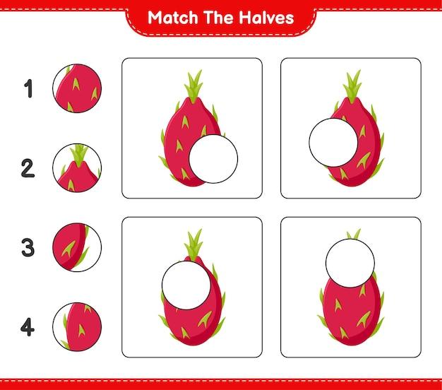 Combine as metades. combine as metades da fruta do dragão. jogo educativo para crianças, planilha para impressão
