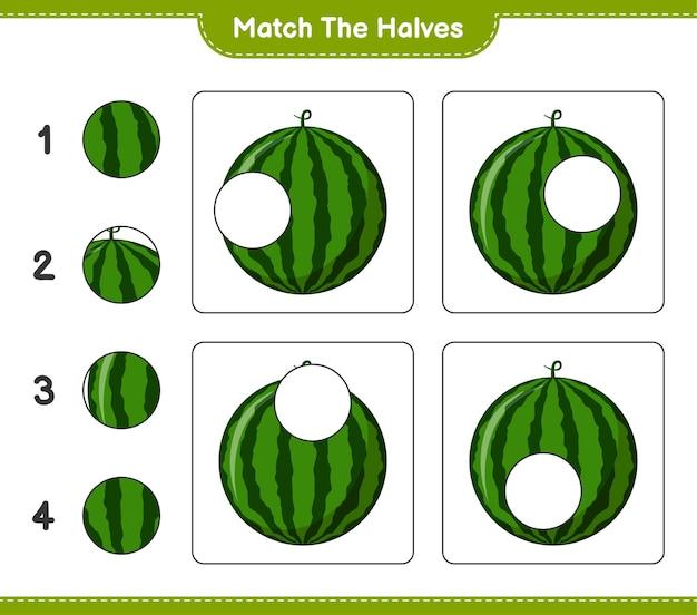 Combine as metades. combine as metades da melancia. jogo educativo para crianças, planilha para impressão