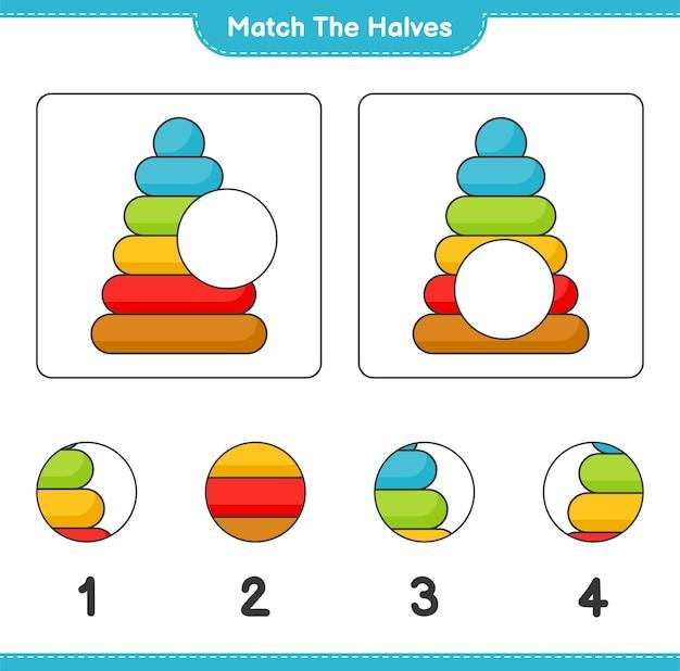 Combine as metades combine as metades da planilha para impressão do jogo educacional infantil pyramid toy