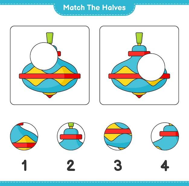 Combine as metades combine as metades da planilha para impressão do jogo educacional infantil whirligig toy