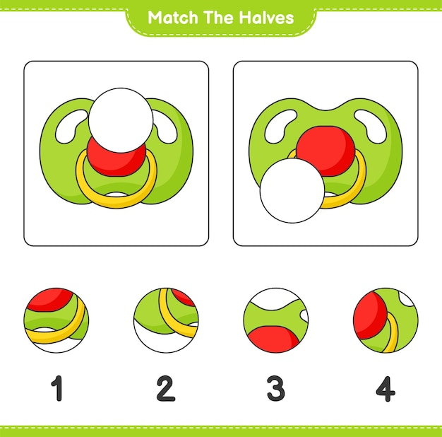 Combine as metades combine as metades da planilha para impressão do jogo educativo para crianças chupeta