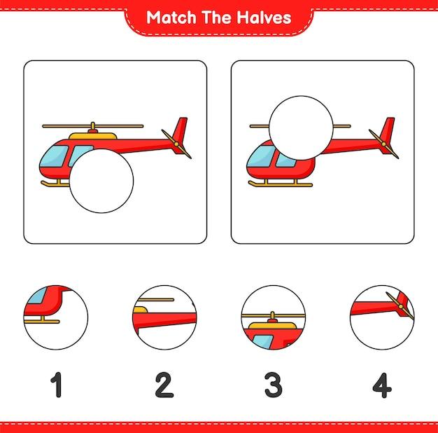 Combine as metades combine as metades da planilha para impressão do jogo educativo para crianças do helicóptero