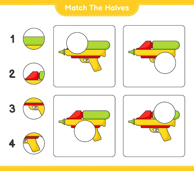 Combine as metades combine as metades da planilha para impressão do jogo educativo para crianças water gun