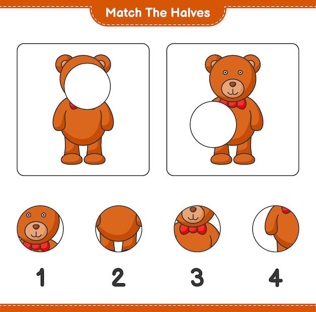 Combine as metades combine as metades da planilha para impressão do jogo educativo teddy bear para crianças