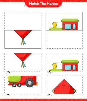 Combine as metades combine as metades da planilha para impressão do jogo infantil kite e train