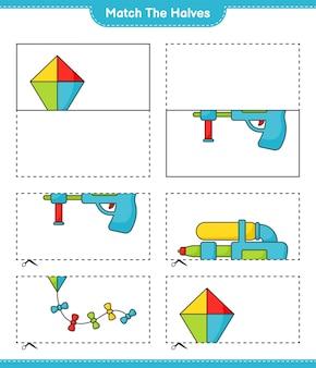 Combine as metades combine as metades da planilha para impressão do jogo infantil kite e water gun