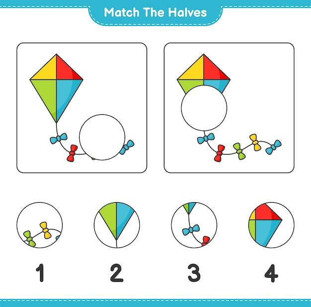 Combine as metades combine as metades da planilha para impressão do jogo infantil kite educacional