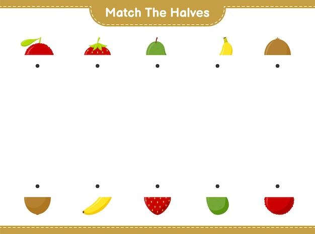 Combine as metades. combine as metades das frutas. jogo educativo para crianças, planilha para impressão