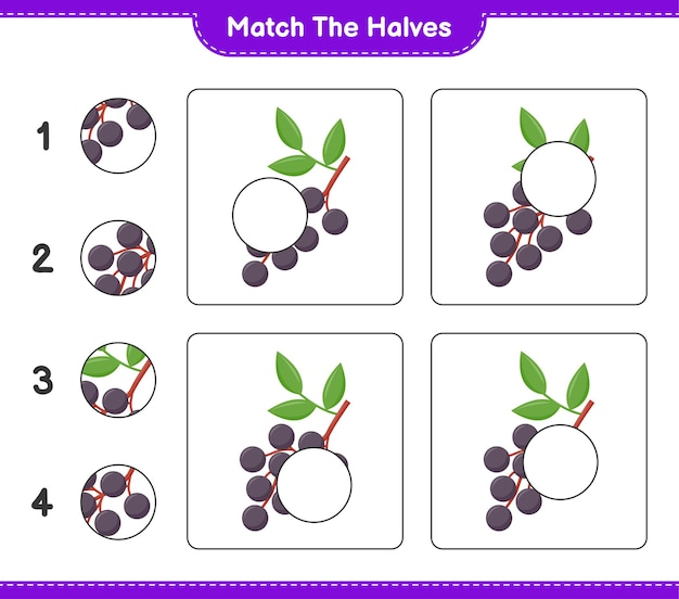Combine as metades. combine as metades de sabugueiro. jogo educativo para crianças, planilha para impressão