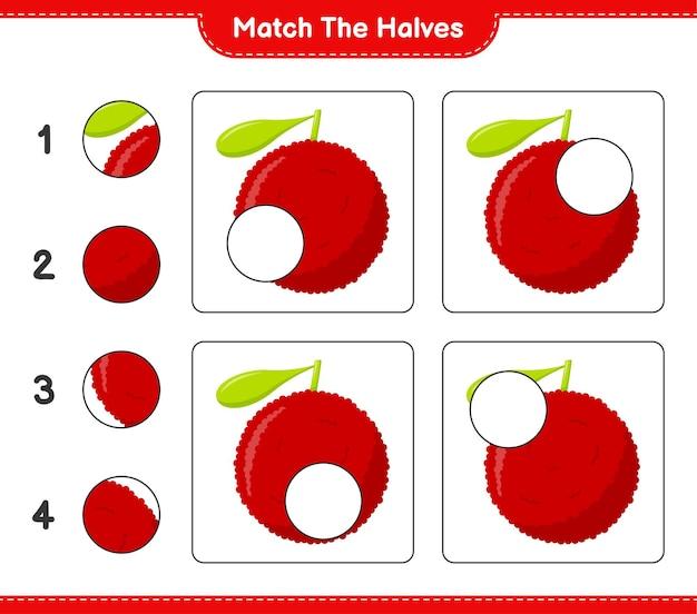 Combine as metades. combine as metades de yumberry. jogo educativo para crianças, planilha para impressão