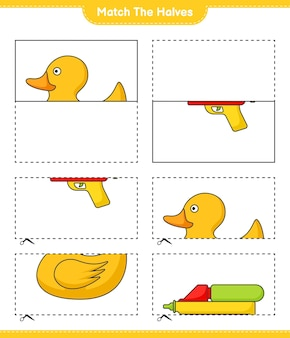 Combine as metades combine as metades do jogo educativo para crianças pato de borracha e pistola de água
