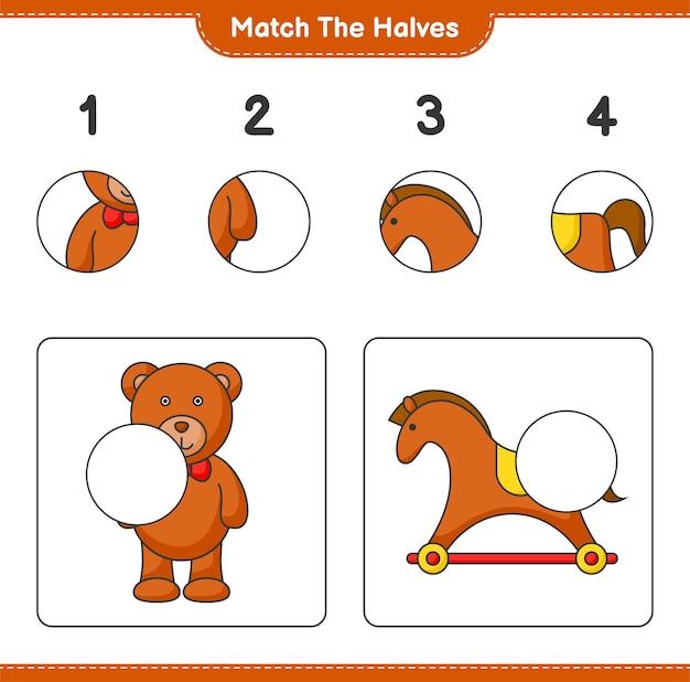Combine as metades combine as metades do jogo educativo para crianças teddy bear e rocking horse