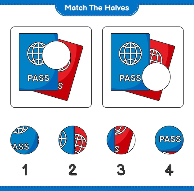 Combine as metades. combine as metades do passaporte. jogo educativo para crianças, planilha para impressão