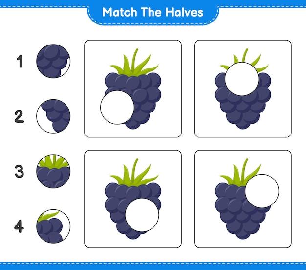 Combine as metades. combine metades de amoras. jogo educativo para crianças, planilha para impressão