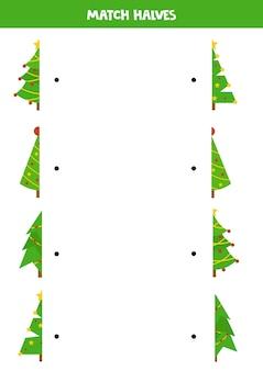 Combine as metades das árvores de natal. jogo lógico educativo para crianças.