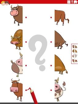 Combine as metades das imagens com o jogo educacional de touros de desenhos animados