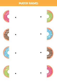 Combine as metades de rosquinhas coloridas de desenho animado. jogo lógico para crianças.