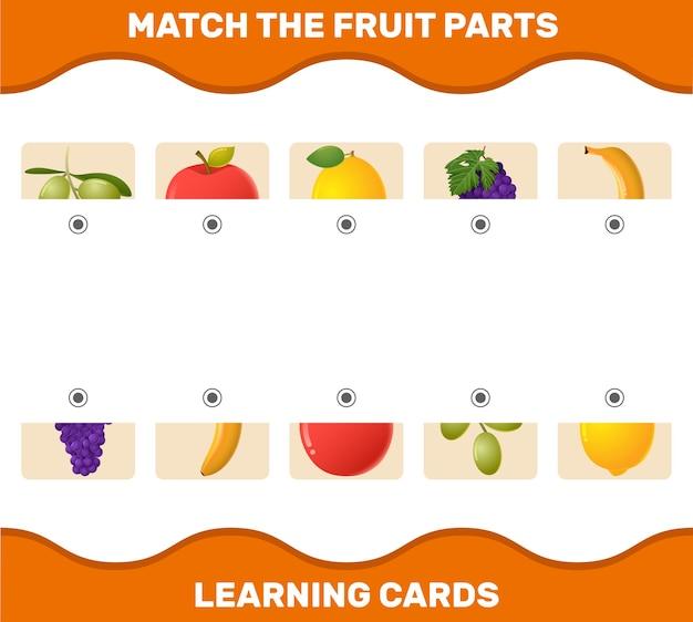 Combine as peças das frutas dos desenhos animados. jogo de correspondência. jogo educativo para crianças e bebês antes da idade escolar