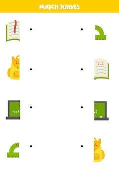 Combine as peças do material escolar. jogo lógico para crianças.