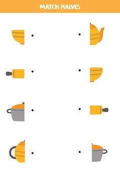 Combine as peças dos utensílios da cozinha. jogo lógico para crianças.