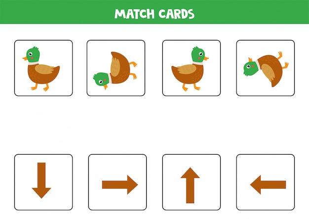 Combine as setas de orientação e o pato bonito dos desenhos animados.