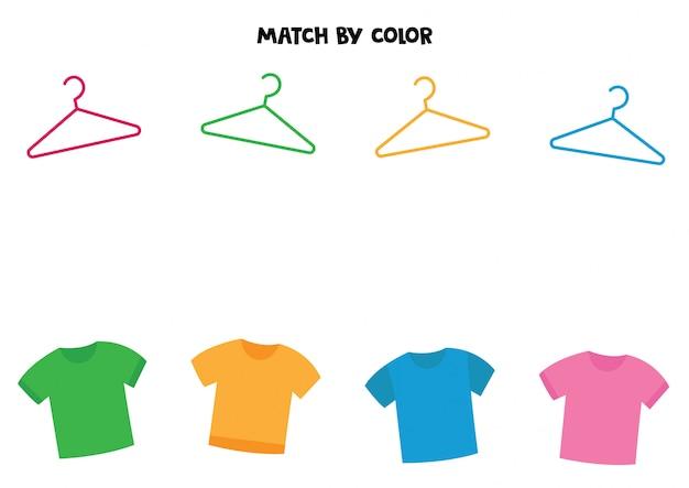 Combine camisetas e cabides por cor.