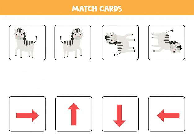Combine cartões de orientação e zebras. jogo de cartas para crianças.