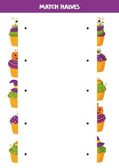 Combine duas metades de cada bolinho de halloween. jogo lógico educativo para crianças. folha de trabalho para impressão,