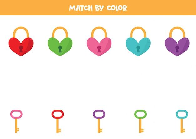 Combine fechaduras e chaves de coração por cor.