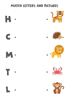 Combine letras e imagens. jogo lógico educativo para crianças. planilha de aprendizagem do alfabeto para pré-escolares. animais bonitos dos desenhos animados.