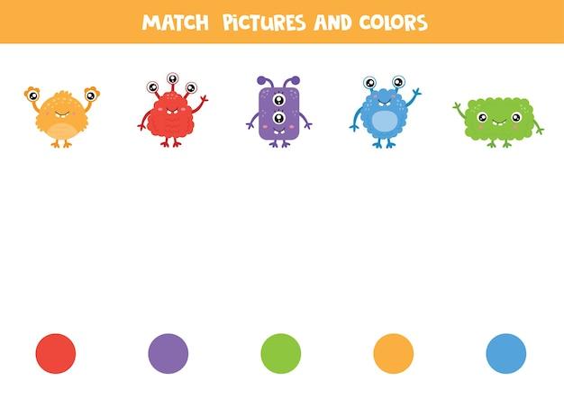 Combine monstros e cores. jogo lógico educacional. aprendendo cores.
