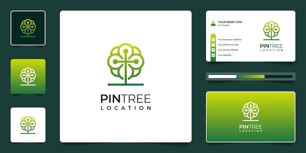 Combine o design do logotipo de localização de árvore e pino com cartão de visita