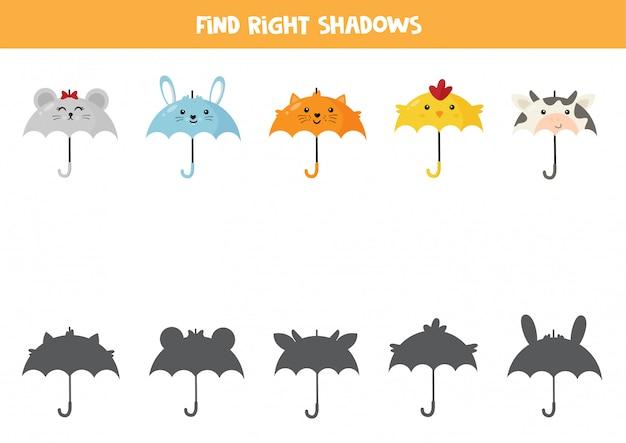 Combine o guarda-chuva de animais e sua sombra. jogo para impressão.