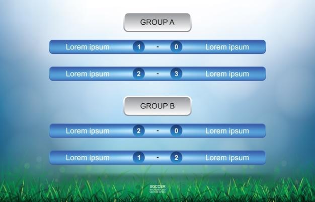 Combine o plano de fundo do grupo de equipe para a copa de futebol do campeonato mundial de futebol. calendário do torneio de futebol de futebol.