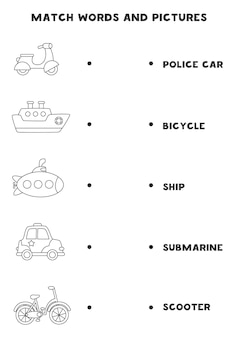 Combine o transporte preto e branco e as palavras. jogo lógico educativo para crianças.