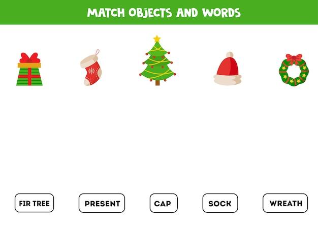 Combine objetos de natal e palavras escritas Vetor Premium