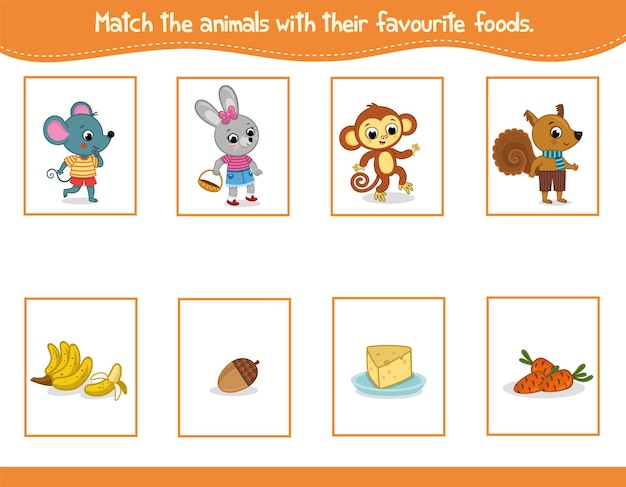 Combine os animais com suas comidas favoritas. ilustração vetorial