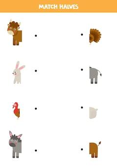 Combine os animais da fazenda e suas caudas. jogo lógico para crianças.