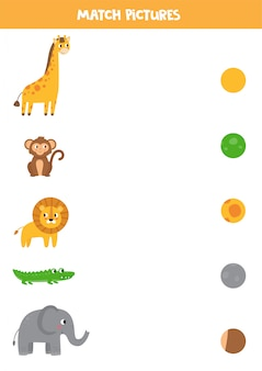 Combine os animais e seu padrão. planilha educacional para crianças.