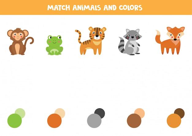Combine os animais e suas cores. planilha educacional para crianças.