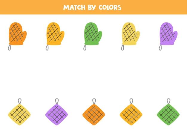Combine os potholders dos desenhos animados por cores jogo lógico educativo para crianças.