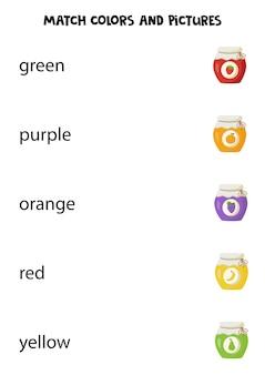 Combine palavras de cores com potes de geléia. jogo lógico educativo para crianças.